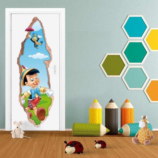 Vinyle pour enfants portes 3d pinocchio et jiminy cricket