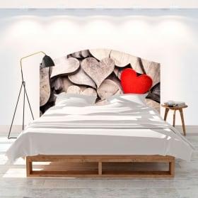 Vinyle têtes de lit coeurs en bois