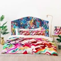 Vinyle têtes de lit graffiti de coeurs