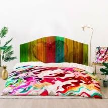 Vinyle têtes de lit coeur couleurs de bois