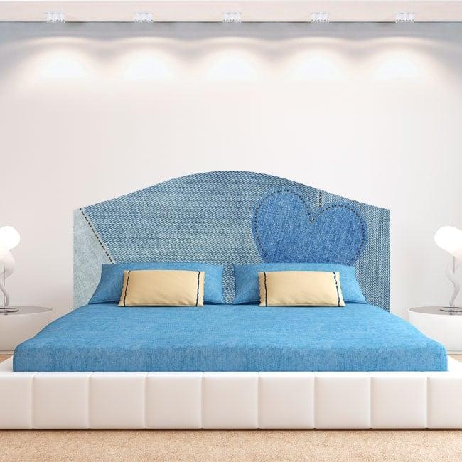 Vinyle jeans coeur pour têtes de lit