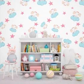 Papiers peints lapins avec étoiles et coeurs