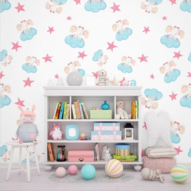 Peintures murales pour les enfants éléphants avec des nuages et des étoiles