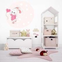 Vinyle pour enfants ou juvénile lapin avec ballon coeur
