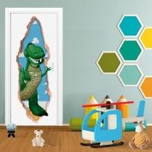 Autocollants de porte 3d rex dinosaure toy story