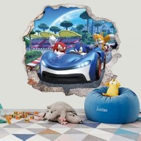 Autocollants décoratifs 3d jeu vidéo team sonic racing