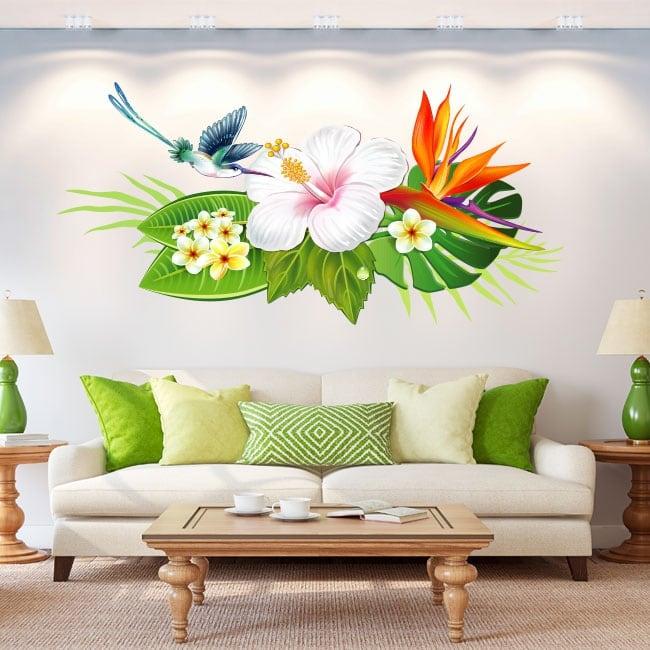Stickers muraux fleurs et colibris