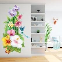 Vinyle pour les murs fleurs colibri et papillon