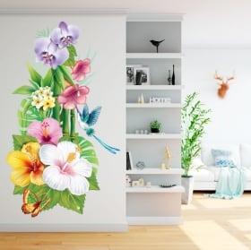 Vinyle pour les murs fleurs et papillons