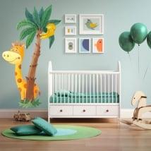 Vinyle pour enfants ou des bébés girafe et palmier aquarelle