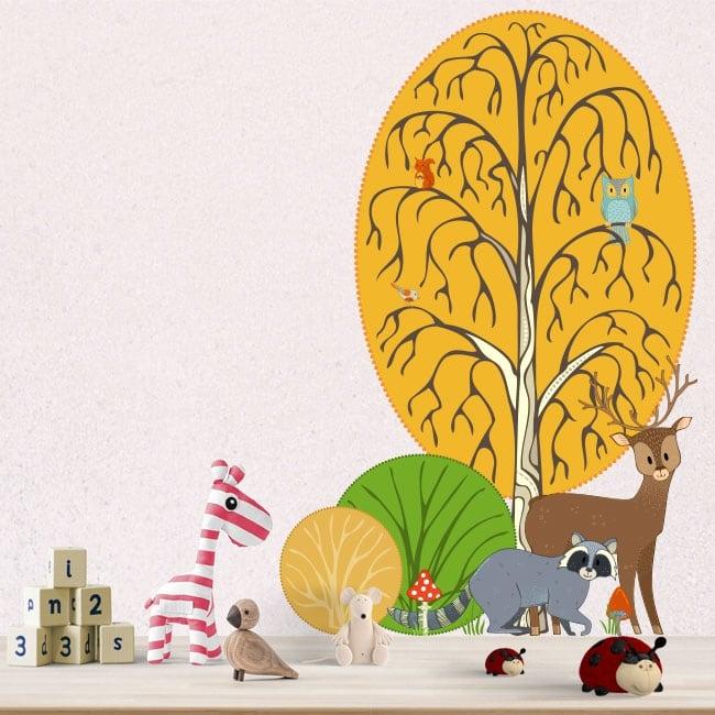 Vinyle enfants et jeunes animaux de la forêt