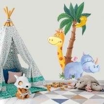 Vinyle pour enfants girafe avec rhinocéros et oiseau aquarelle