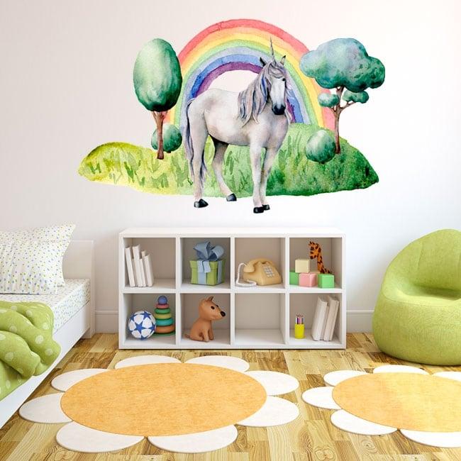 Vinyle pour enfants ou juvénile licorne et arc en ciel
