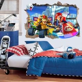 Vinyle décoratif 3d jeux vidéo mario kart