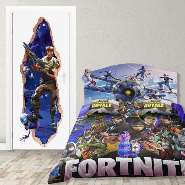 Vinyle pour portes fortnite jeu 3d