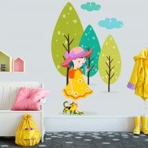 Vinyle pour enfants ou juvénile petite fille avec petit oiseau dans la forêt
