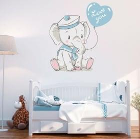 Vinyle pour enfants ou bébé éléphant avec phrase love you