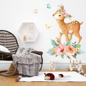 Vinyle enfants ou jeunes licorne et château aquarelle