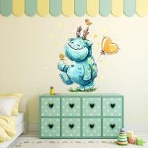 Vinyle pour enfants ou juvénile monstre heureux à l'aquarelle