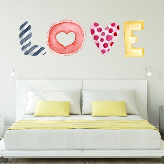 Stickers muraux texte love à l'aquarelle