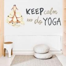 Vinyle et autocollants girafe avec phrase en anglais keep calm yoga