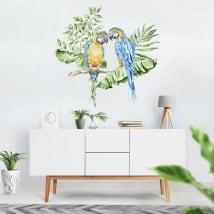 Stickers muraux perroquets ou aras à l'aquarelle