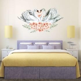 Vinyle mur perroquets ou aras à l'aquarelle