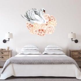 Vinyle décoratif et des autocollants cygnes avec des fleurs