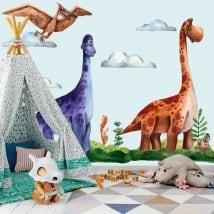Vinyle et autocollants enfants ou jeunes dinosaures aquarelle