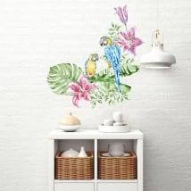 Vinyls murs perroquets ou aras à l'aquarelle