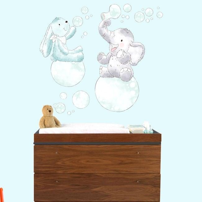 Vinyles pour enfants ou bébés animaux avec des bulles de savon