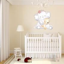 Vinyle pour enfants ou bébé éléphant avec chien