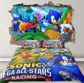 Vinyle décoratif 3d jeu vidéo sonic