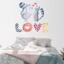 Stickers muraux chats avec texte love à l'aquarelle