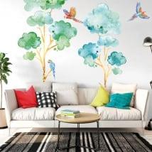 Vinyle et autocollants arbres avec des perroquets ou des aras