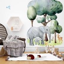 Stickers muraux animaux et nature à l'aquarelle