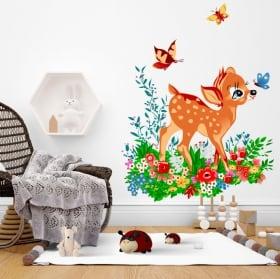 Vinyle bambi avec petit oiseau fleurs et papillons à l'aquarelle