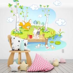 Stickers muraux animaux pour enfants deltaplane