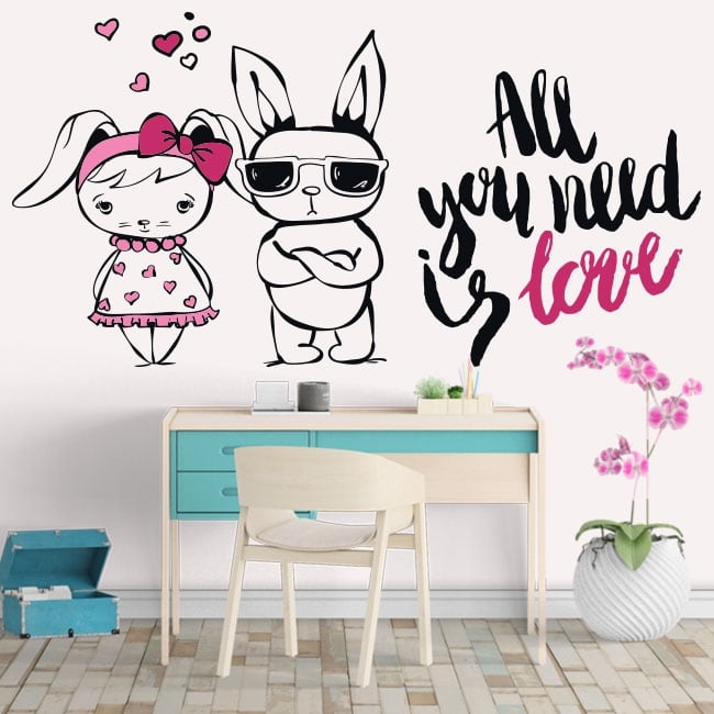 Vinyle et autocollants lapins phrases all you need is love