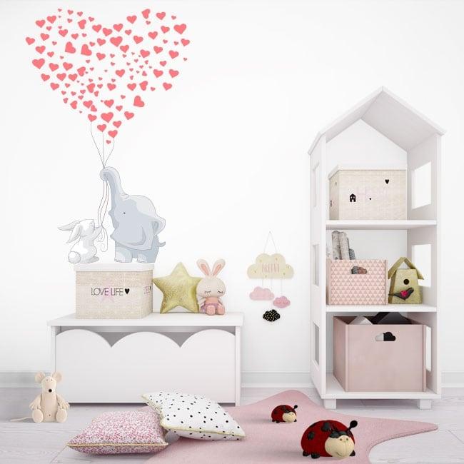 Stickers décoratifs éléphant et lapin aux coeurs