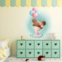 Vinyle décoratif pour enfants fille avec des ballons