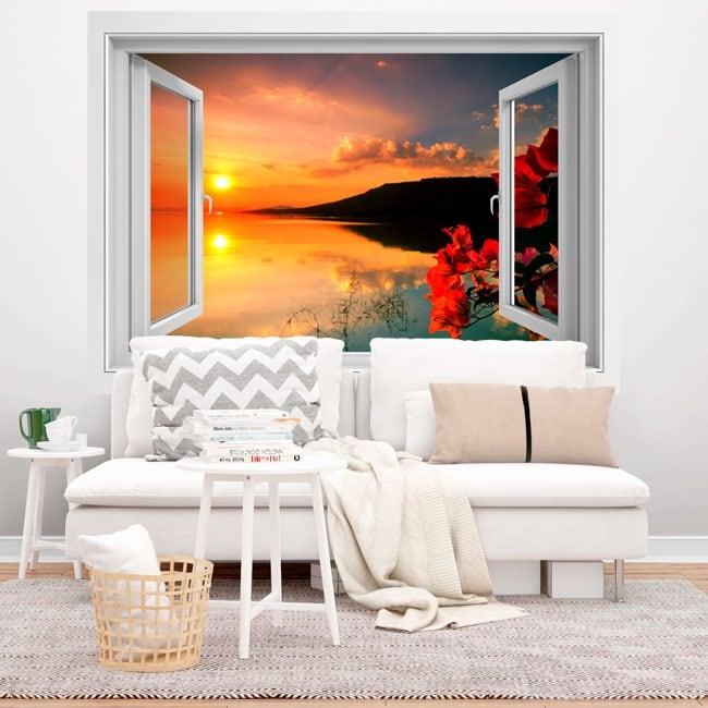 Fenêtres en vinyle 3d double coucher de soleil