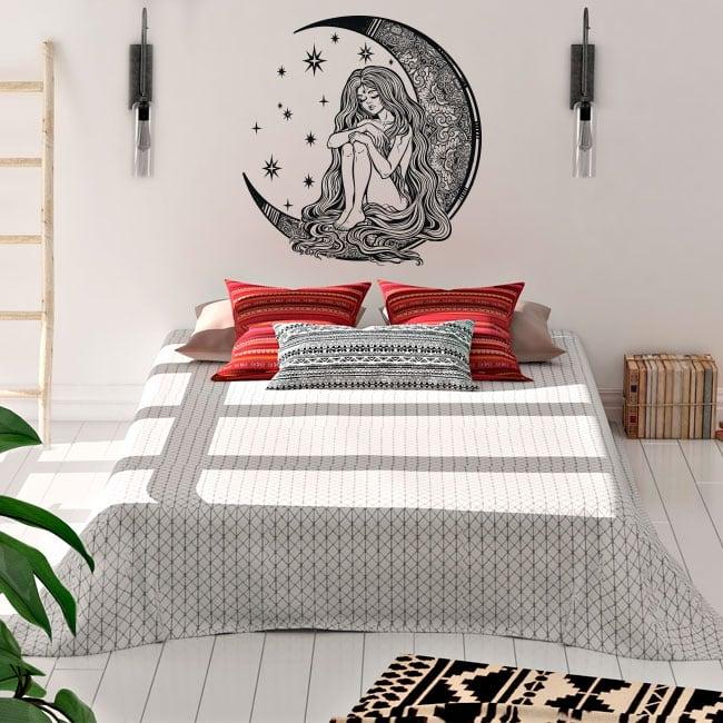 Vinyle et autocollants silhouette de femme sur la lune