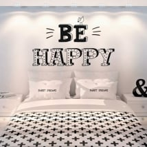 Vinyle décoratif phrases en anglais be happy