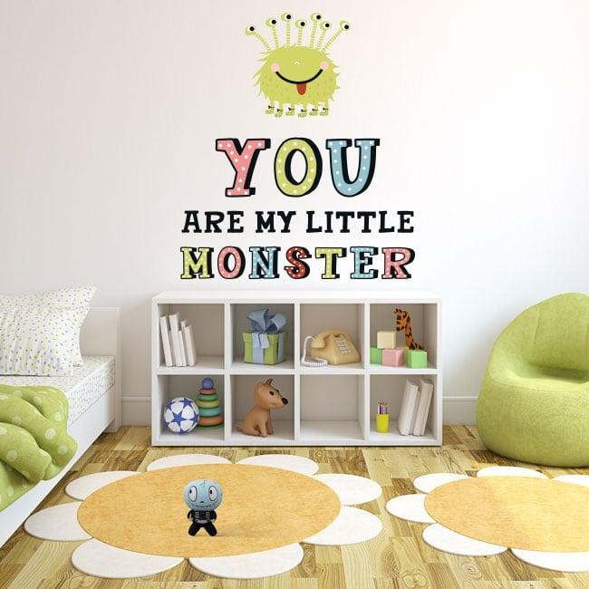 Vinyle pour enfants ou juvéniles monstre avec phrase en anglais