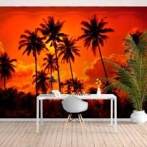 Murales de vinyle palmiers et coucher de soleil sur la plage