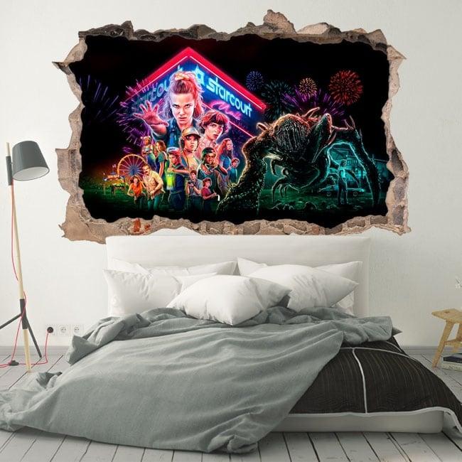 Vinyle décoratif 3d netflix série tv stranger things