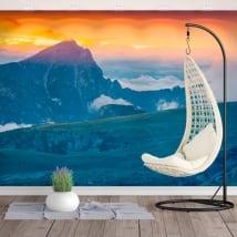 Peintures murales aube montagne seekofel dolimites italie