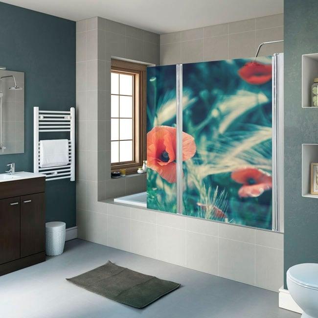 Vinyle pour écrans de douche fleurs coquelicots
