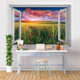 Vinyls des fenêtres 3d fleurs de pavot dans le champ au coucher du soleil
